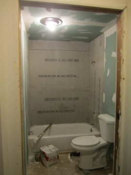 Bathroom has all the walls in. Three cheers for privacy!