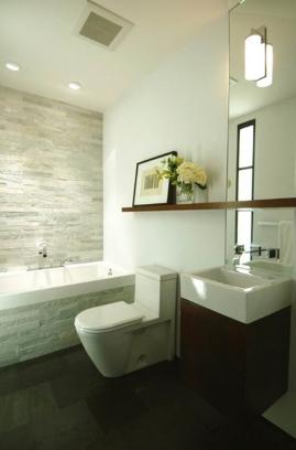 I also got rectangular grayish tiles for the tub surround, and dark tiles for the floor
